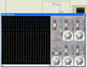 FIG 6 O osciloscópio mostra o sinal de entrada canal A de 12Vpp 1KHz Saída no canal B de 5Vpp 1KHz sinal invertido