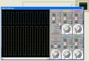 FIG 8 O osciloscópio mostra o sinal de entrada canal A de 12Vpp 1KHz Saída no canal B de 5Vpp 1KHz sem inversão